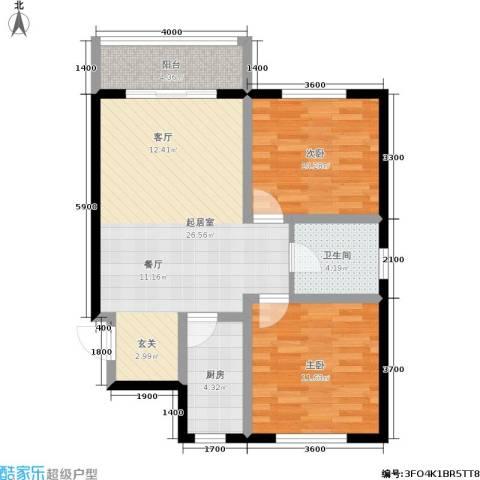 日出东方2室0厅1卫1厨89.00㎡户型图