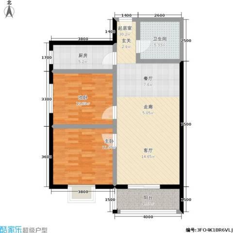 日出东方2室0厅1卫1厨98.00㎡户型图