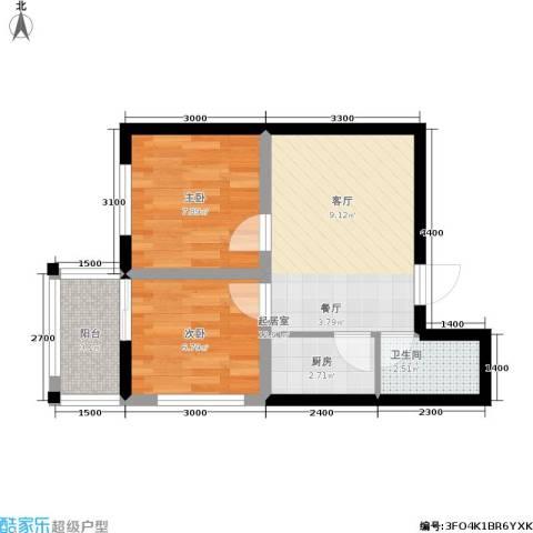 日出东方2室0厅1卫1厨53.00㎡户型图