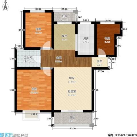 泰和世家3室0厅1卫1厨121.00㎡户型图