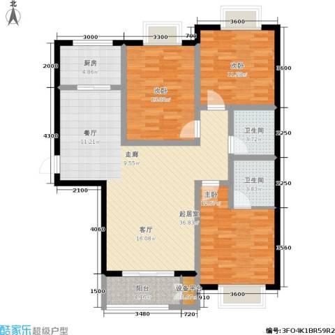 日出东方3室0厅2卫1厨131.00㎡户型图