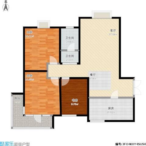 发祥福邸3室1厅2卫1厨137.00㎡户型图