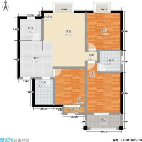 日出东方3室0厅2卫1厨129.00㎡户型图