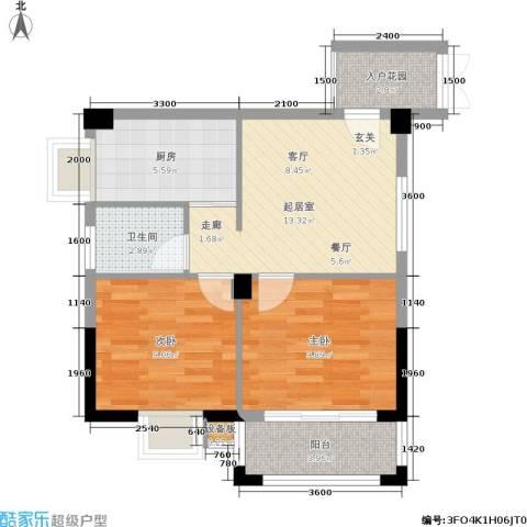 腾龙钻石广场2室0厅1卫1厨64.00㎡户型图