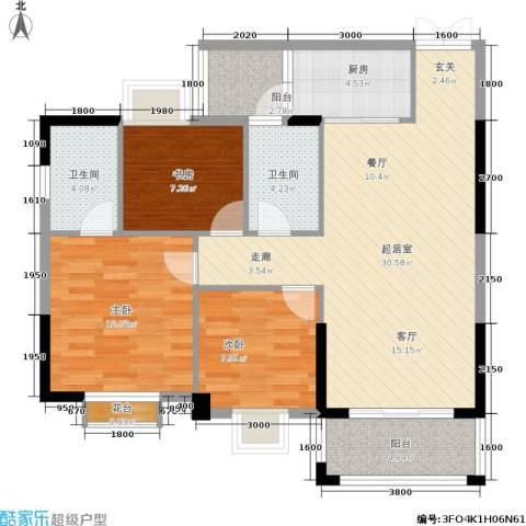 腾龙钻石广场3室0厅2卫1厨104.00㎡户型图