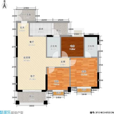 腾龙钻石广场3室0厅2卫1厨106.00㎡户型图