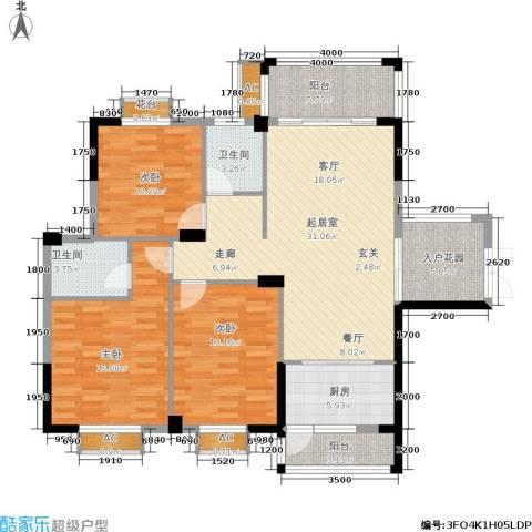 腾龙钻石广场3室0厅2卫1厨121.00㎡户型图