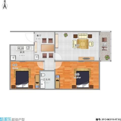 东土城7号院2室2厅1卫1厨66.98㎡户型图