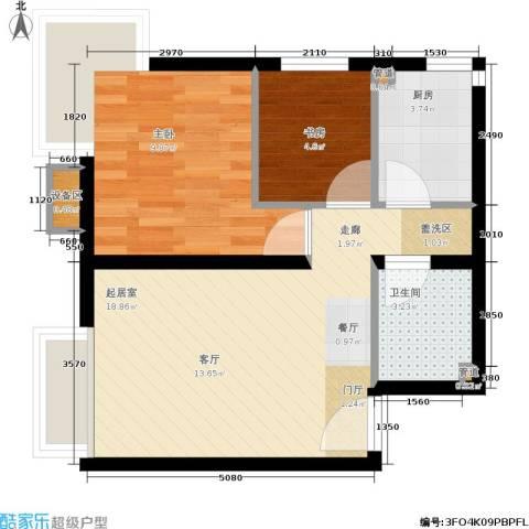 保利上林湾2室0厅1卫1厨62.00㎡户型图
