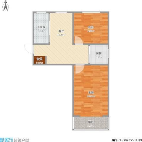 洪庙巷小区2室1厅1卫1厨60.00㎡户型图