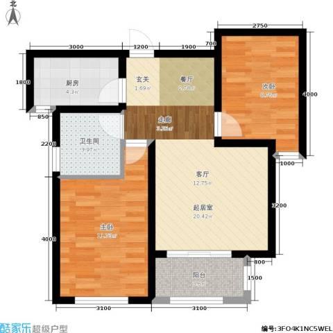 宁泽・新领域2室0厅1卫1厨77.00㎡户型图