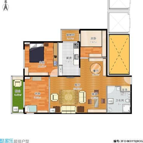 建欣苑六里3室1厅1卫1厨108.00㎡户型图