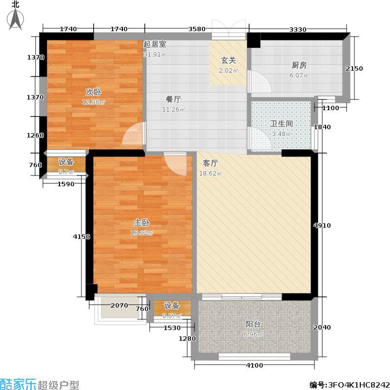 中海国际88.00㎡7#02/03/06/07单元2室户型