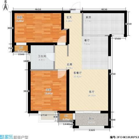 中建城2室1厅1卫1厨106.00㎡户型图