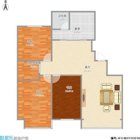 环宇金域蓝山3室1厅1卫1厨128.00㎡户型图