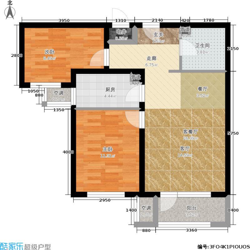 龙冠·冠华苑88.00㎡6-Bd户型2室2厅