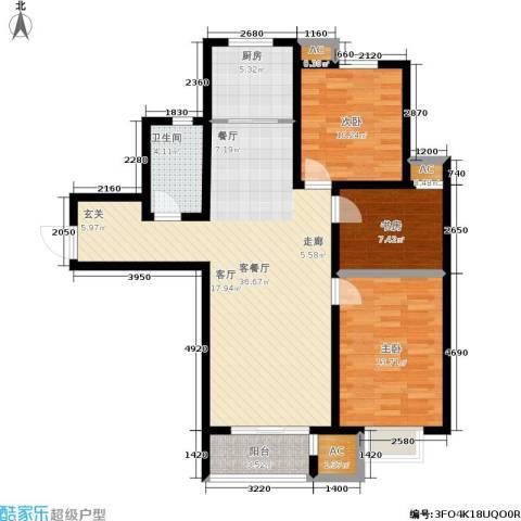 中建城3室1厅1卫1厨121.00㎡户型图