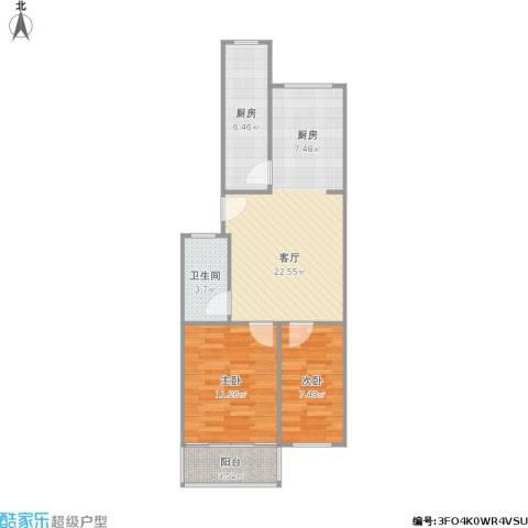 鑫宏花园2室1厅1卫1厨75.00㎡户型图