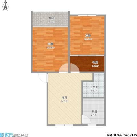 仁和花苑3室1厅1卫1厨72.00㎡户型图