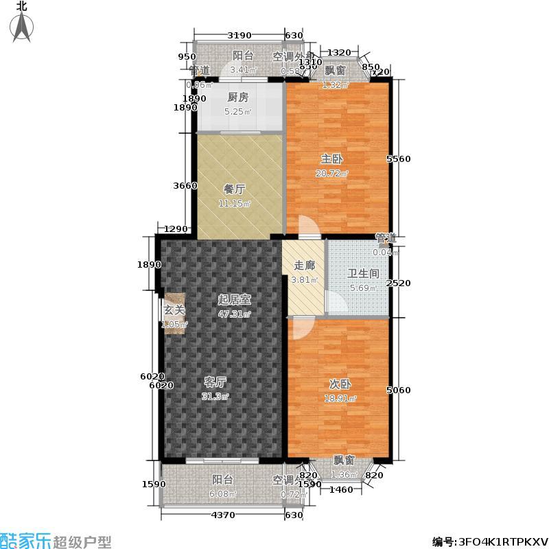 世界名园(燕都国际文化生态社区)116.70㎡世界名园ES户型2室2厅