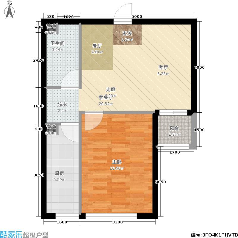 建工·动力港68.00㎡A1户型1室2厅