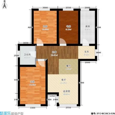 宁泽・新领域3室0厅1卫1厨107.00㎡户型图