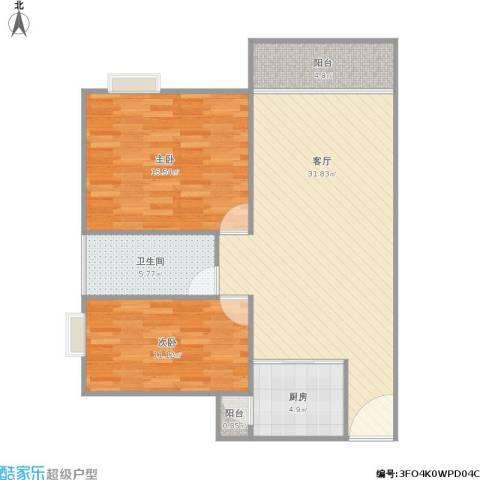 裕龙君汇2室1厅1卫1厨102.00㎡户型图