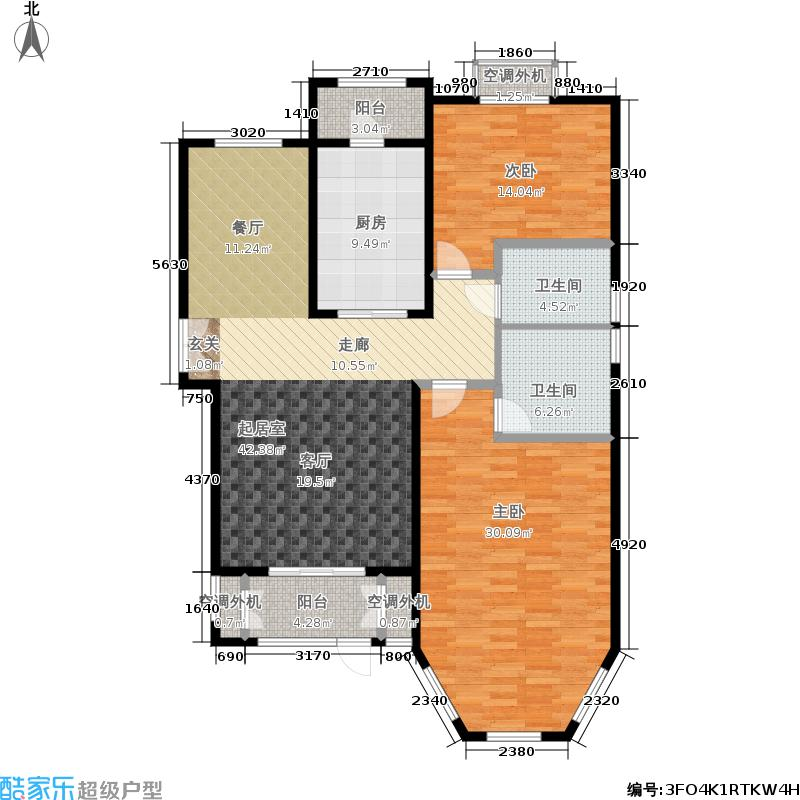 世界名园(燕都国际文化生态社区)128.78㎡A1户型2室2厅