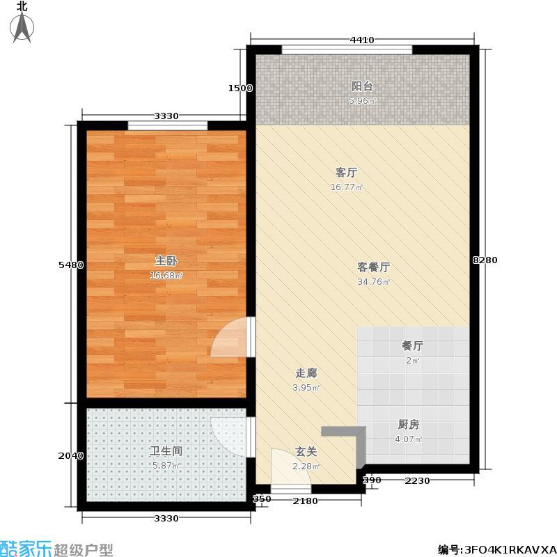 和平里8号(锦鸿阁)62.00㎡A户型1室2厅