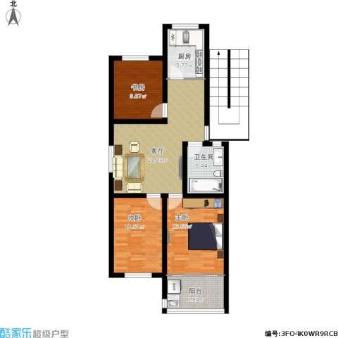 蟠桃花园四期3室1厅1卫1厨106.00㎡户型图