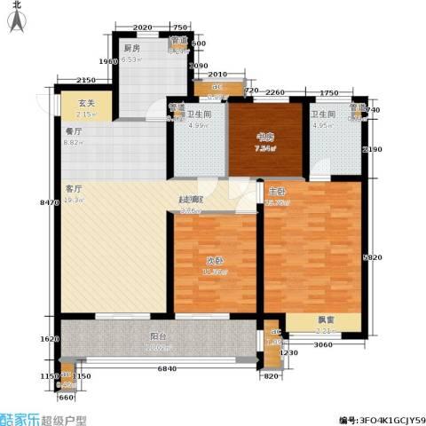 华润绿地・凯旋门3室0厅2卫1厨117.00㎡户型图