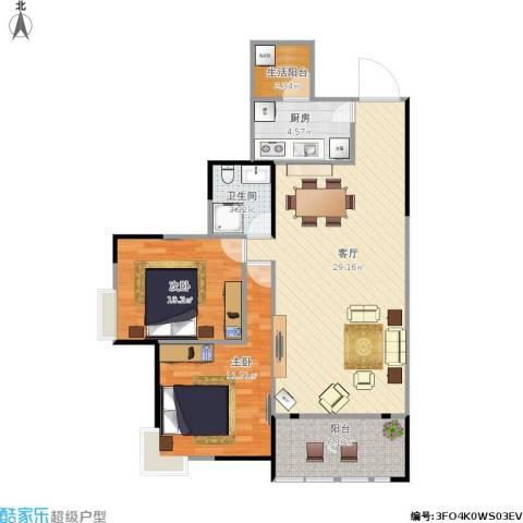 恒安世纪花城2室1厅1卫1厨91.00㎡户型图