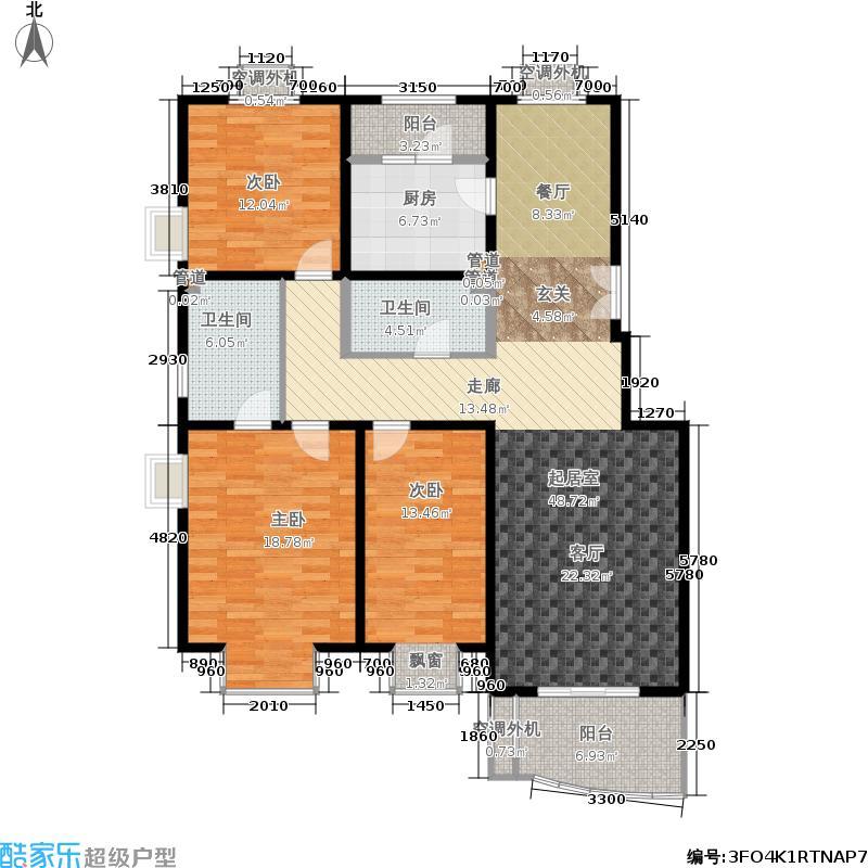 世界名园(燕都国际文化生态社区)134.21㎡世界名园B区D1厅户型3室2厅