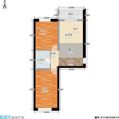 水木康桥一期2室0厅1卫1厨73.00㎡户型图