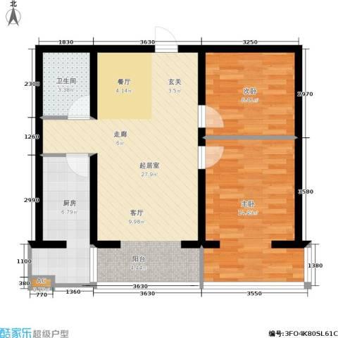 水木康桥一期2室0厅1卫1厨88.00㎡户型图