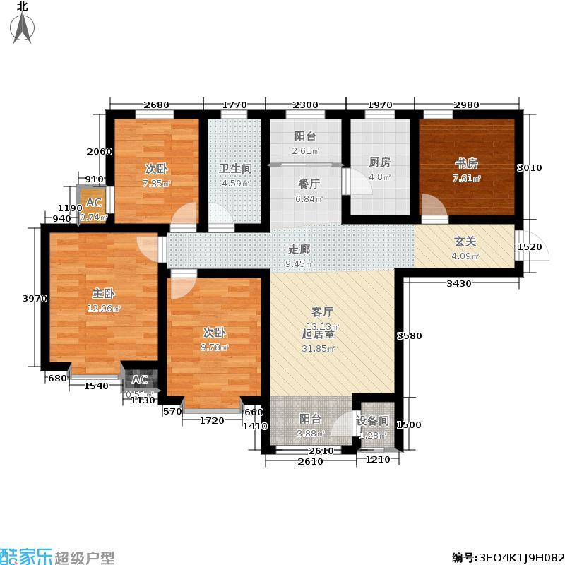 钱隆学府105.29㎡标准层M户型3室2厅
