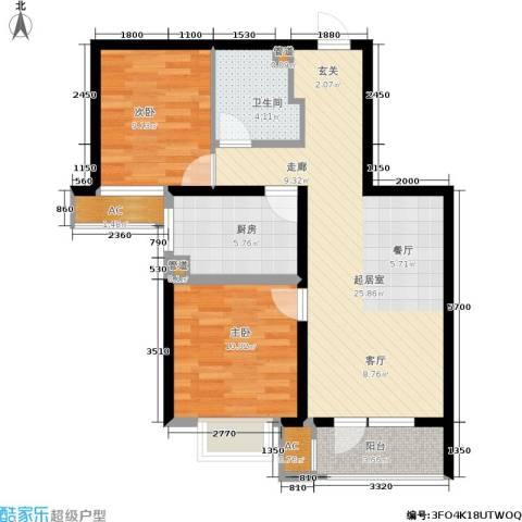 润达万科金域蓝湾2室0厅1卫1厨89.00㎡户型图