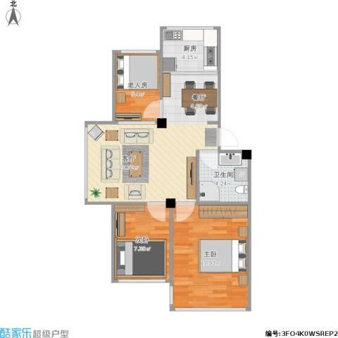 海天景苑3室1厅1卫1厨76.00㎡户型图
