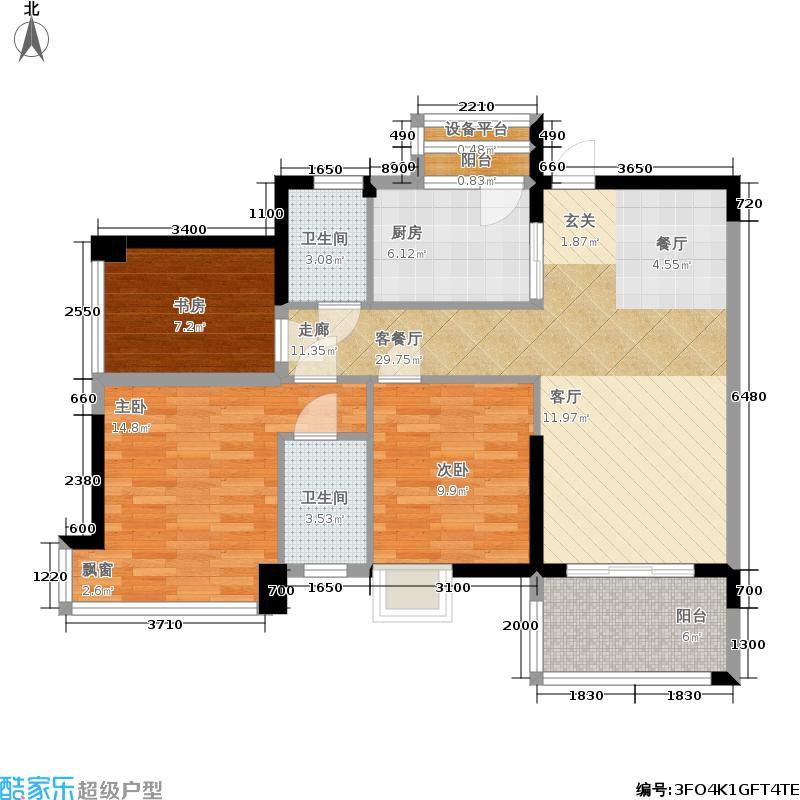 天英月珑湾99.00㎡天英・月珑湾珊瑚轩1幢标准层02、03户型