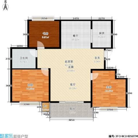 温哥华城时代公寓3室0厅1卫1厨110.00㎡户型图