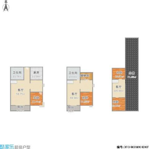 天福园1室3厅1卫1厨353.00㎡户型图