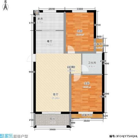 中亚・东方名都2室0厅1卫1厨91.00㎡户型图
