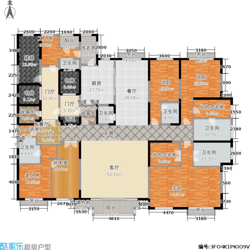泛海国际460.00㎡世家8、9号楼A1(边)户型5室4厅