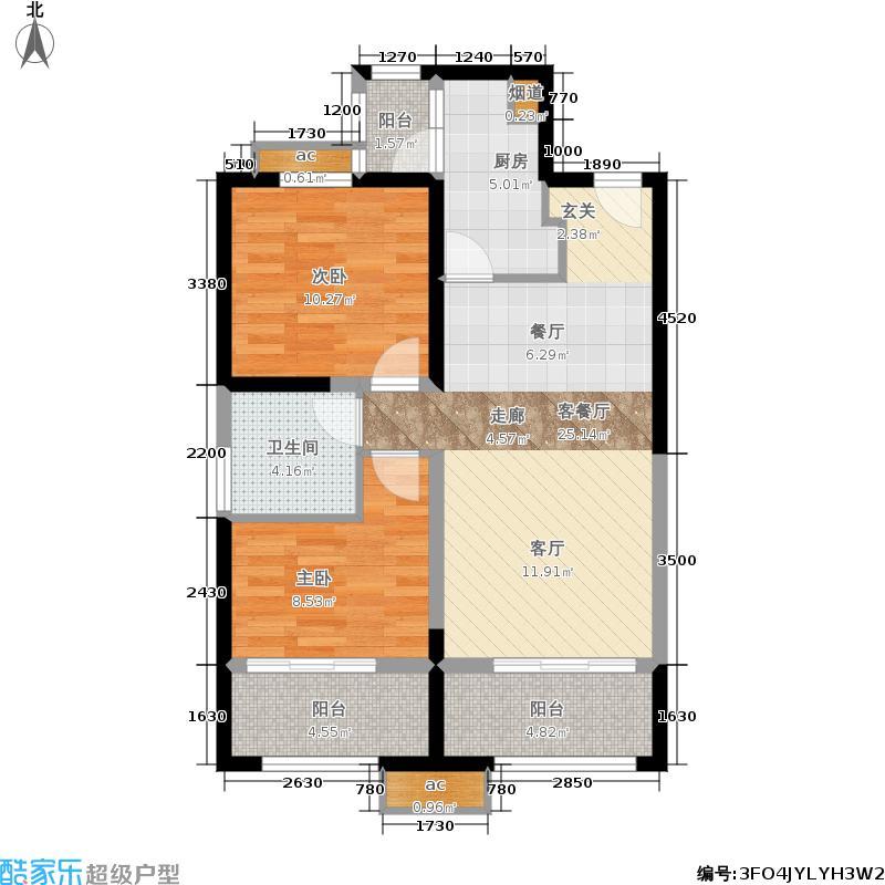 中铁缇香郡78.67㎡中铁・缇香郡5#楼D1户型