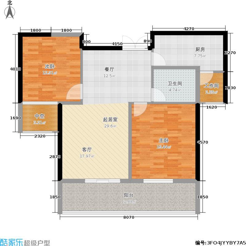 世茂花园97.00㎡二期高层B42F户型