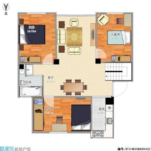 古城新境3室1厅1卫1厨93.00㎡户型图
