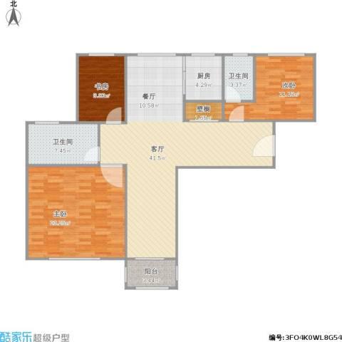 长营村3室1厅2卫1厨140.00㎡户型图