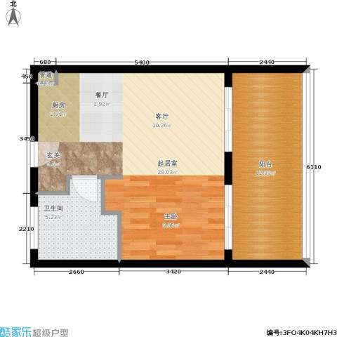 浙大网新·蝶恋海1卫0厨52.00㎡户型图