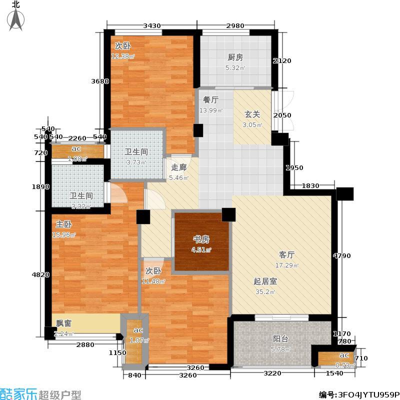 佳源优优花园114.00㎡多层电梯洋房A2标准层户型