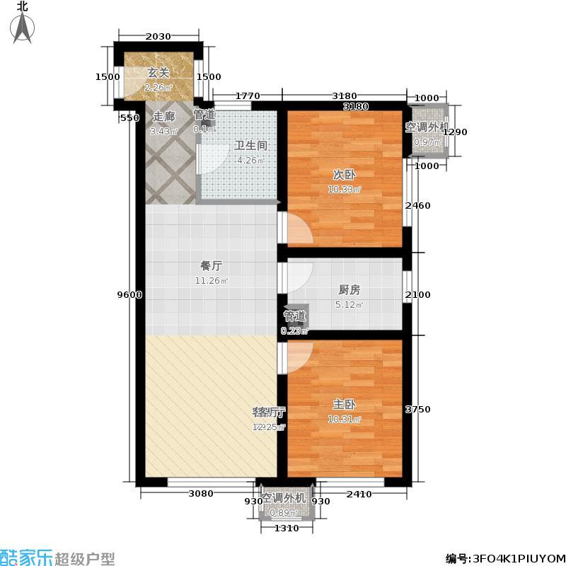 鲁能·丰和台88.00㎡鲁能·丰和台3号楼B6户型2室1厅